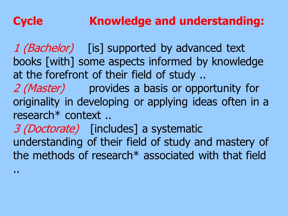 Cycle Knowledge and understanding: 1 (Bachelor) [is] supported by advanced text books [with] some aspects informed by knowledge at the forefront of their field of study ..